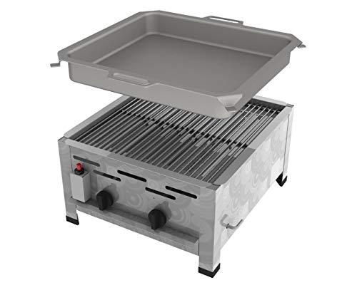 ChattenGlut Professional Gastrobräter 2-flammig - freistehendes Tischgerät aus Edelstahl + Stahlbrenner - 7,3 kW Gasbräter regelbar für Flüssiggas + Rost + Pfanne, 480x530x270 mm