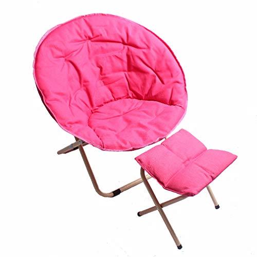 Draagbaar Vouwen Camping stoel, Buitenshuis Camping fauteuil Moon Chair voor Garden Uitstapjes vissen Stoel Home Recliner Met voetensteun Stoel,Pink