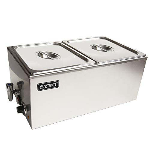 SYBO ZCK165BT-2 Commercial Grade Stainless Steel Bain Marie Buffet Food Warmer Steam Table for Catering and Restaurants, 2 Sections with Tap, Brushed Finish