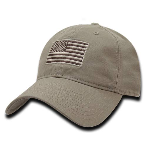 RapDom Polo Style American Pride Flag Baseball Caps Tonal Flag Khaki