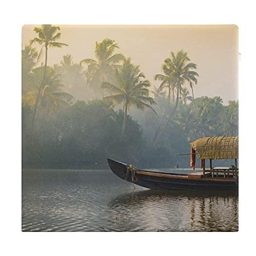 Cojines de Suelo Cuadrados,Cojín de Asiento de cojín de Silla,Casa Flotante Plana Naranja Kerala anclado en Costas Naturaleza Tranquila India,Sentado para Oficina,hogar,Suave Espesar