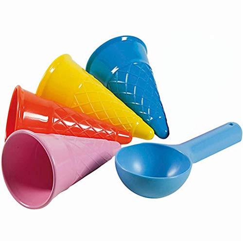 Auplew Juego de 5 juguetes de arena para niños, juguete de playa, dulce cucurucho de helado, juguete educativo para el jardín de la playa, formas de arena, para construir tus propias obras