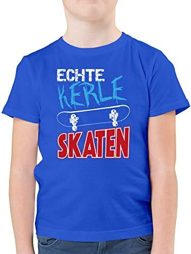 Up to Date Kind - Echte Kerle skaten - 152 (12/13 Jahre) - Royalblau - Shirt Skater - F130K - Kinder Tshirts und T-Shirt für Jungen