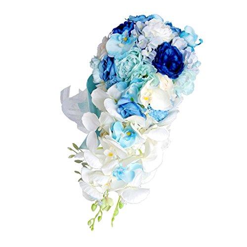 LOVIVER Kaskaden Tropfen Brautstrauß Silk Schicke Hochzeits Party Blumen Anordnung - Blau, 46 x 42 cm