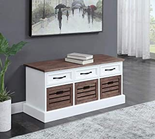 Coaster Storage Bench in Cappuccino and White