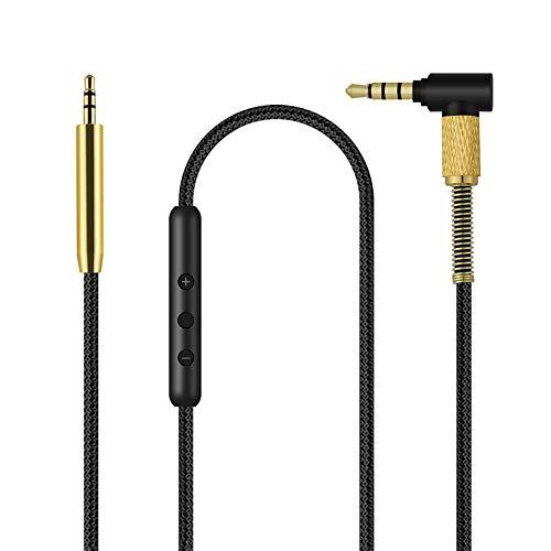 QC25 Kabel, Ersatzkabel mit Inline Mikrofon und Lautstärkeregler für Bose QuietComfort 25 35, QC25/QC35, On-Ear 2/OE2/OE2i Soundtrue/Soundlink Kopfhörer, Aux Audiokabel für iPhone und Android, 1,4m