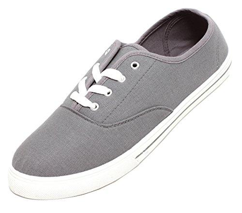Zapato heren dames unisex vrijetijdssneaker veterschoenen canvas textiel sneaker grijs wit maat 42-46 (43 EU).
