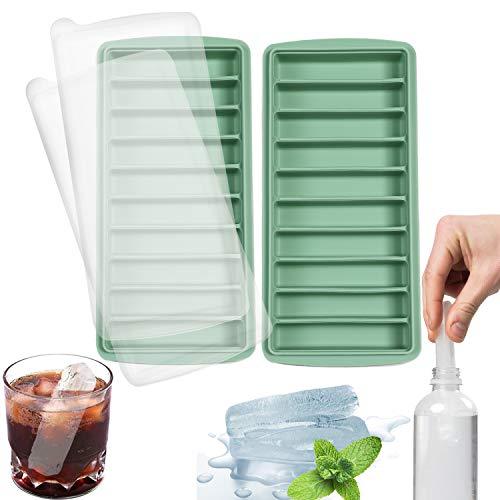 LessMo vaschetta del Ghiaccio, Silicone, con Coperchio, Ideale per Lo Sport e Bottiglie d'Acqua, 10 cavità (Set di 2, Verde)