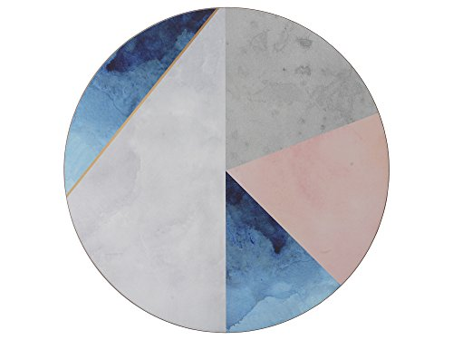 Creative Tops 5226190 'Geometric Palette' Printed Round Cork-Backed Placemats, 29 cm - Blue / Grey (Set of 4)