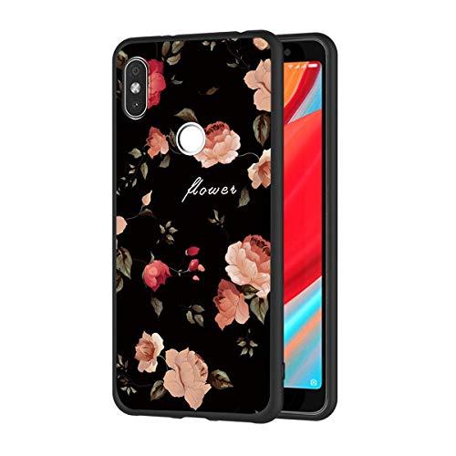 ZhuoFan Coque Xiaomi Redmi S2, Etui en Silicone Noir avec Motif 3D Fun Fantaisie Dessin Antichoc TPU Gel Housse de Protection Case Cover Bumper Coque pour Téléphone Xiao mi Redmi S2, Fleurs
