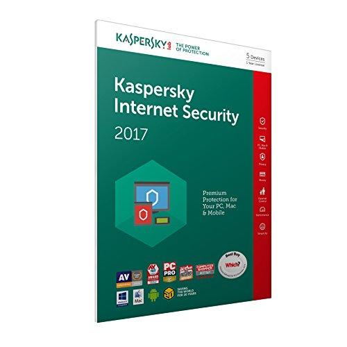 Kaspersky Lab Internet Security 2017 Base license 5usuario(s) 1año(s) Inglés - Seguridad y antivirus (5, 1 año(s), Base license, Soporte físico)