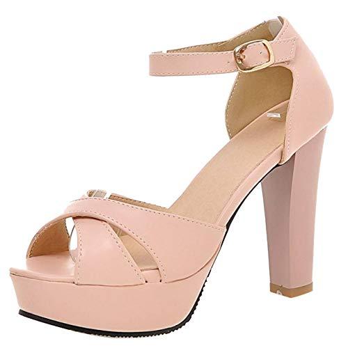 Kaizi Karzi Damen Elegant High Heel Sandalenen Blockabsatz Party Schuhe Peep Toe Pink Gr 34 Asiatisch