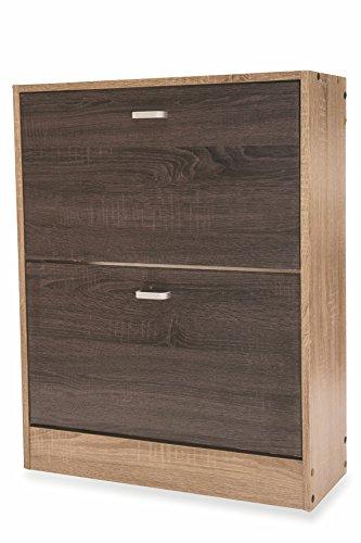 Galileo Casa Wood schoenenkast met 2 deuren, MDF, bruin, 63 x 24 x 80 cm