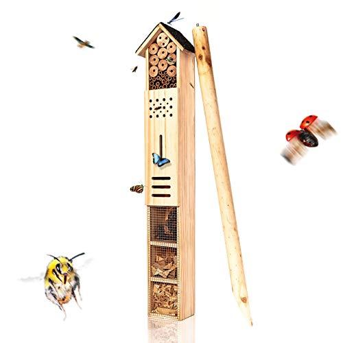 bambuswald© XXL Insektenhotel mit Erdspieß - Insektenhotel ca. 160cm Höhe | unbehandeltes Holz für Bienen, Marienkäfer, Florfliegen & Schmetterlinge, Bienenhotel & Nisthilfe