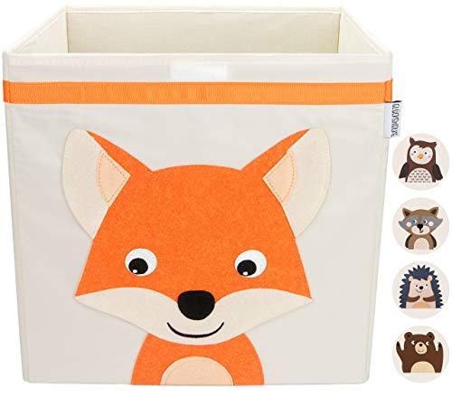 GLÜCKSWOLKE Aufbewahrungsbox Kinder I Spielzeug Kiste mit Deckel und Griffen I Spielzeugbox ( 33x33x33 ) zur Aufbewahrung im Kallax Regal I Waldtiere Motiv Fuchs für Kinderzimmer (Willi Wildfuchs)