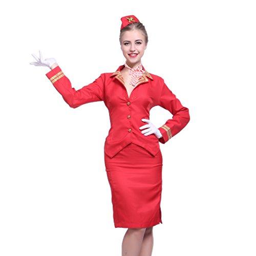 Surepromise Gr.S Damenkostuem Stewardess Flugbegleiterin Damen Kostuem Offizier Party Karneval Halloween Karnevalskostuem