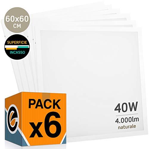 6x Pannelli LED 40W 60x60cm 4000 lumen - Luce Bianco Naturale 4000K - Fascio Luminoso 120° - 2 in 1 incasso o superficie