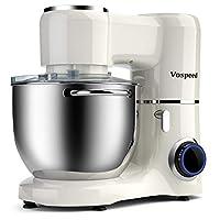 impastatrice planetaria 1500w 8litri vospeed robot da cucina con ciotola di acciaio inossidabile, frusta, gancio per impastare, frusta per dolci, lavabile in lavastoviglie (bianca)