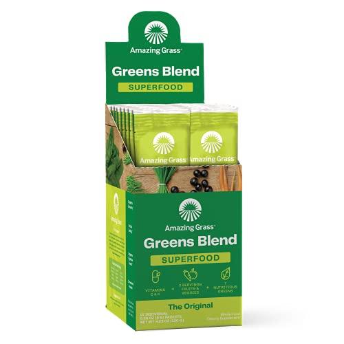 Amazing Grass Greens Blend Superfood: Super Greens Powder with Spirulina, Chlorella, Beet Root Powder, Digestive Enzymes & Probiotics, Original, 15 Servings (Packaging May Vary)