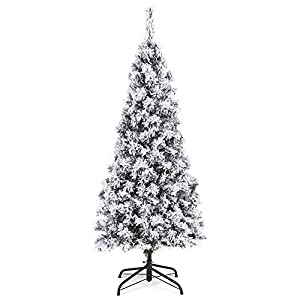 Best Choice Products 4.5ft Snow Flocked Artificial Pencil Christmas Tree Holiday Decoration w/Metal Stand
