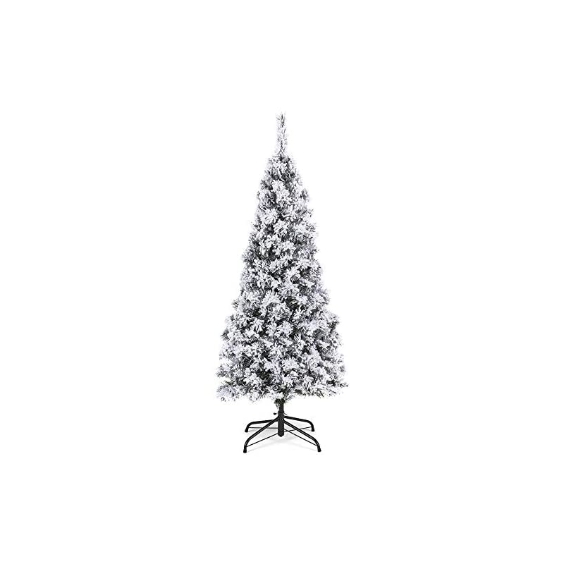 silk flower arrangements best choice products 4.5ft snow flocked artificial pencil christmas tree holiday decoration w/metal stand
