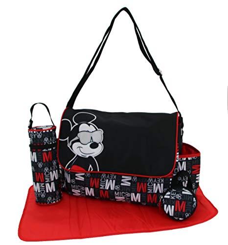 Disney Mickey Mouse - Juego de bolsas para pañales con estampado de Mickey Mouse (incluye cambiador de pañales, soporte para chupetes, soporte para botellas y muchos bolsillos)