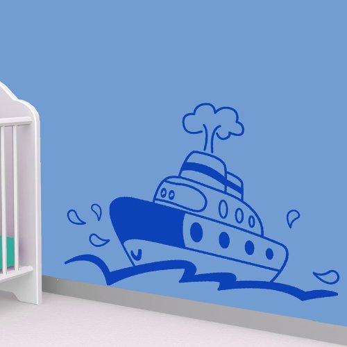 STIKID - Happy Ferry muursticker - 70 x 50 cm - blauw
