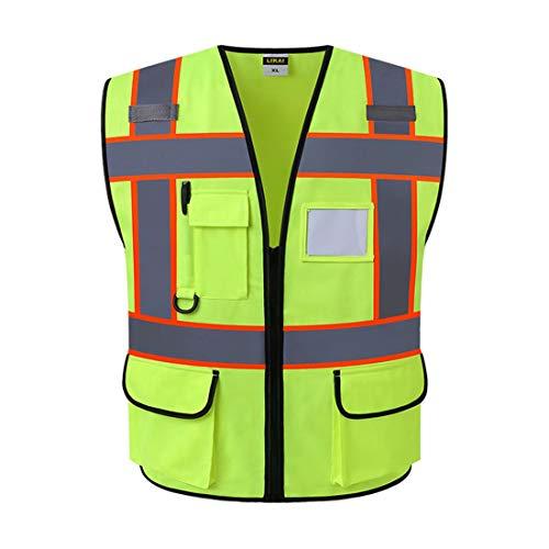SK Studio Unisex Hohe Sichtbarkeit Warnweste mit Reflektorstreifen und Reißverschluss Vier Taschen Arbeitsweste Fluoreszierendes Gelb Large