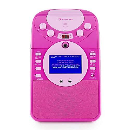 Auna ScreenStar Pink Multiconnect - Kit Karaoke , Speaker Integrato , Telecamera Frontale , Registrazione MP3 e Avi , Schermo 9 cm TFT , Lettore CD, SD, USB , 2 Microfoni , Rosa
