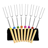 Newthinking Roasting Sticks, Marshmallow Roasting Sticks 32 Inch Extendable Forks for BBQ at the Campfire(Set of 8)