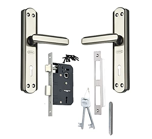 Spider Steel Mortice Key Lock Complete Set with Black Silver Finish (S606MBS + RML4)