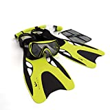 Aquadis Open Foot Dry Top Snorkeling Set with  Diving Mask and Dive Gear Bag, Yellow
