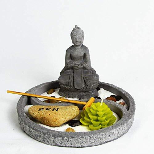 OM HOME Jardin Zen Figurine Bouddha en Plateau Ronde, avec Bougeoir en Forme de Fleur de Lotus, Roche et Sable décoration