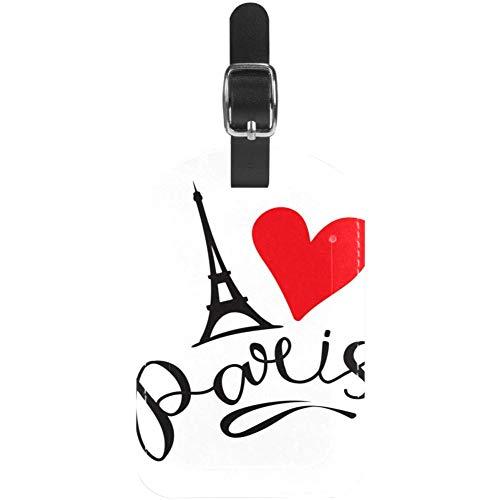 TIZORAX Etiquetas de equipaje de la Torre Eiffel de París con corazón rojo de piel para maleta de viaje, 1 paquete