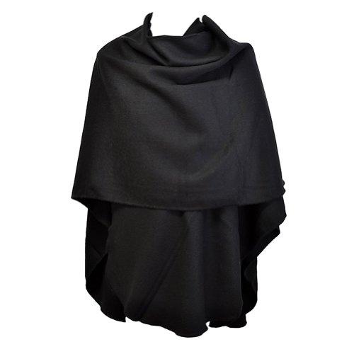 TOUTACOO, Großer Damen-Poncho - Hergestellt in Frankreich 01-Schwarz