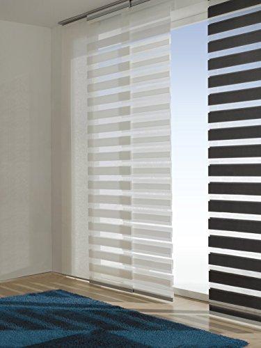 Easy-Shadow - 1 Set Schiebevorhang Flächenvorhang mit Doppelrollo-Optik Breite 60 x 245 cm Höhe - 60x245 cm weiß - Duo Fensterjalousie Schiebegardine passend für Gardinenschienen Vorhangschienen Gardinenbretter Laufschienen Deckenleiste - inkl. Aluminiumprofil und Gleiter
