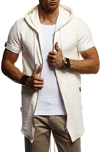 Leif Nelson Herren Sommer Jacke mit Kapuze Sweatjacke T-Shirt Slim Fit Basic Baumwolle-Anteil Basic Männer Kapuzenjacke Kapuzenshirt Hoodie-Sweater Kurzarm lang LN8301 Ecru XX-Large
