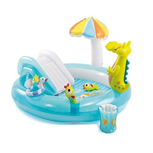 My youth 170cm aufblasbare Cartoon Crocodile Pool mit Regenschirm Schatten Baby-Rutsche Spielzeug Familie Wasser Spiele Pool Can-Ball Pit Be (Color