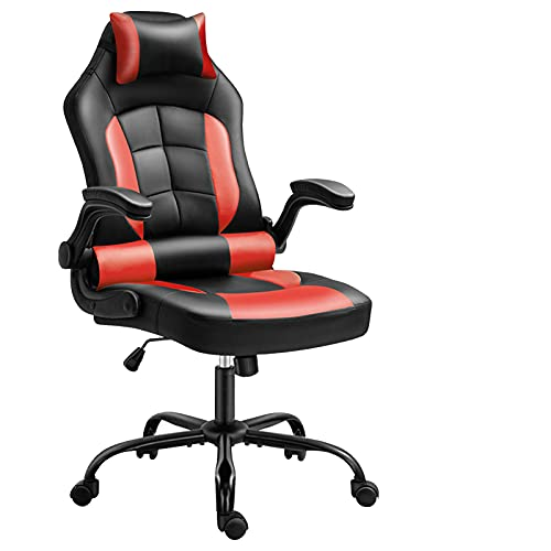 Silla de videojuegos, silla ergonómica de videojuegos, respaldo y asiento de altura ajustable giratorio reclinable, color rojo