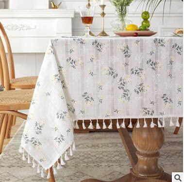 Mantel de Lino de algodón Puro de Corea, Estilo de jardín, Tela de Encaje pequeño, Mantel de Picnic con Estampado Rectangular, decoración 140x180cm A