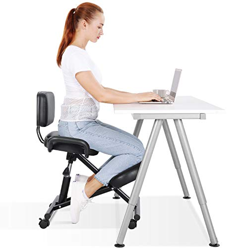 Maxkare Ergonomic Kneeling Chair Office Home Chair with Adjustable Height for Posture Correct| Bad Backs | Neck Pain Relieving | Spine Tension Relief-Thick Comfortable Cushion