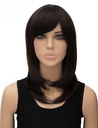jiayy perruque synthétique Multicolore Longueur moyenne sans bouchon naturel de haute qualité droite, Black