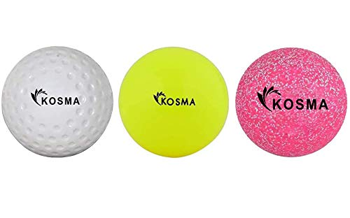 Kosma Set mit 3 Hockeybällen | Outdoor Sports PVC Übungsbälle (weiß Dimple, rosa Glitzer, gelb glatt)