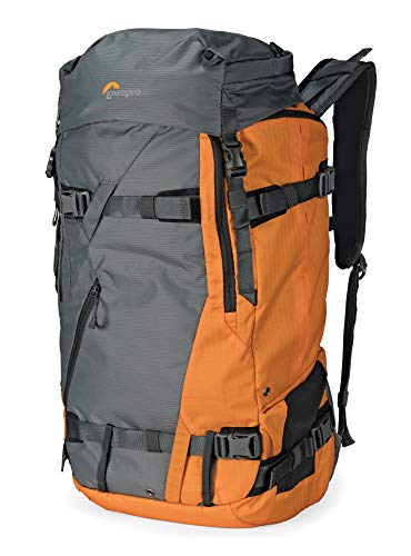 Lowepro LP37230-PWW Powder BP 500 AW Zaino Outdoor per Trekking Invernale, Escursionismo, Capiente per Attrezzatura Photo/Video,DSLR/Mirrorless/Lenses e Accessori Personali, Grigio/Arancio