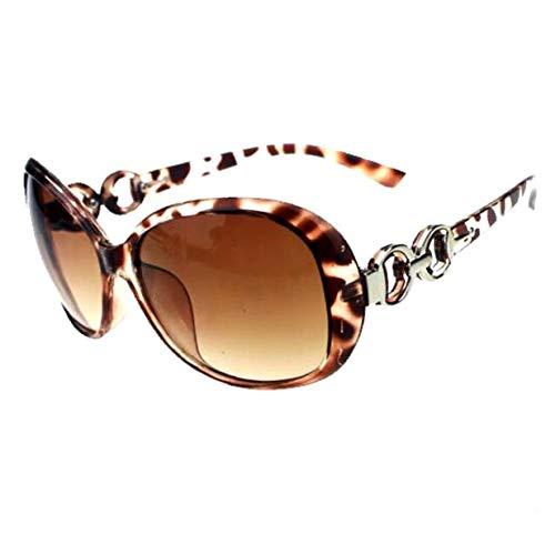 Berrywho Marco Redondo del Leopardo Gafas de Sol Retro Hombres Mujeres Lente reflejada círculo del Metal Gafas de Sol
