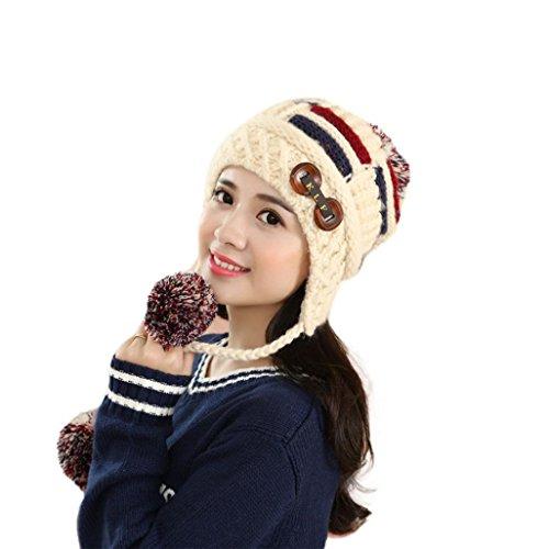FAMILIZO Las mujeres caliente del invierno de lana trenzada de punto de ganchillo casquillo de la bola del sombrero de la boina de esquí Beanie (Beige)
