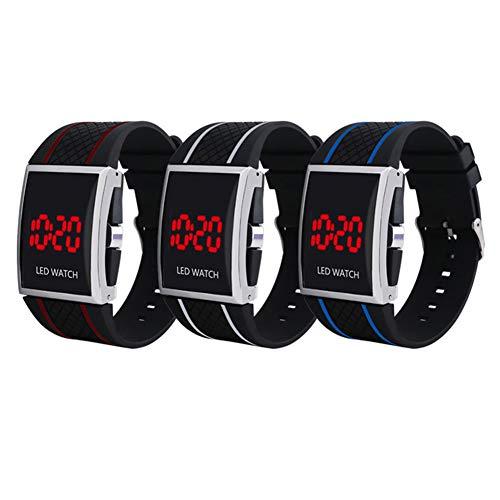 KingbeefLIU Reloj Unisex con Esfera Rectangular Pantalla De Fecha Reloj De Pulsera Deportivo Digital LED Ajustable Azul Negro