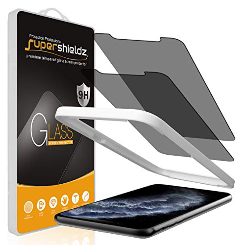(2 Pack) Supershieldz Designed for Apple iPhone 11 Pro Max and iPhone Xs Max (6.5 inch) (Privacy) Anti Spy Tempered Glass Screen Protector with (Easy Installation Tray) Anti Scratch, Bubble Free