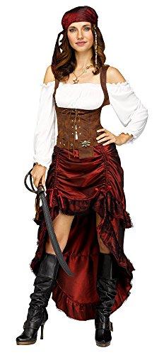 Fun World Women's Pirate Queen Costume, Multi-Colored, Med/Lrg