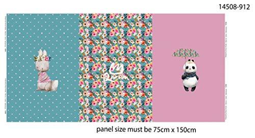 Doppelmoppel Stoff Panel Jersey Digital Stenzo Hase und Panda rosa